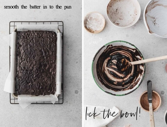 Side by side images of brownie batter in a baking pan