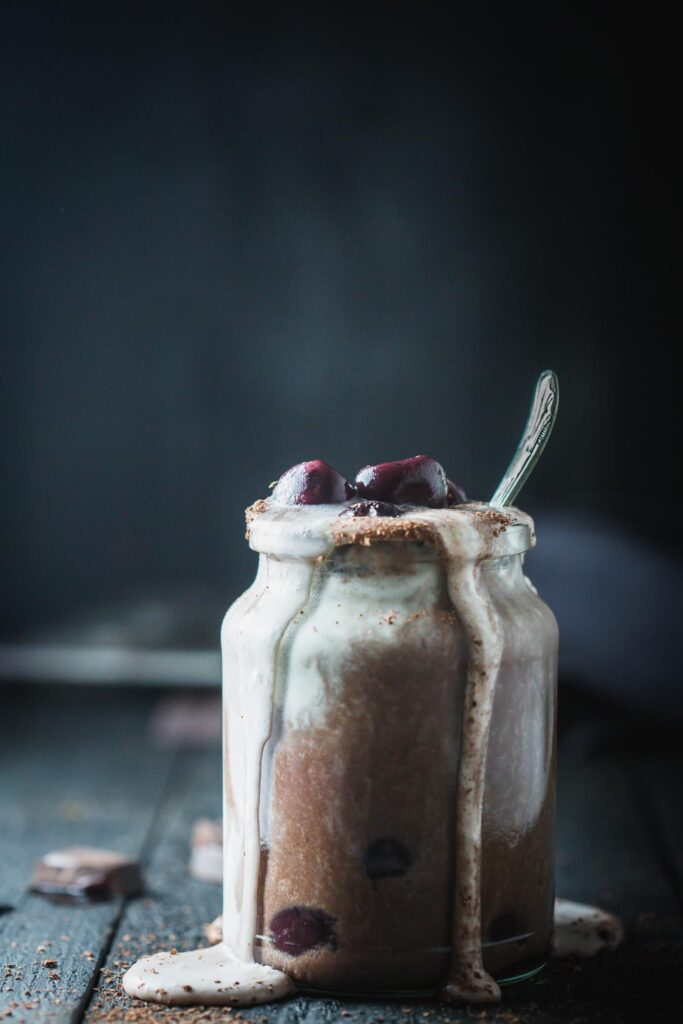 Front on image of a jar of Black Forest Shake