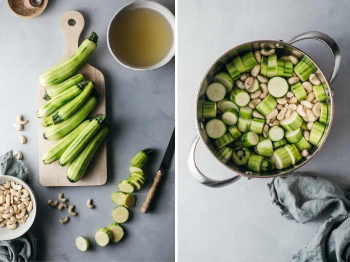Side by side process images showing how to make zucchini soup
