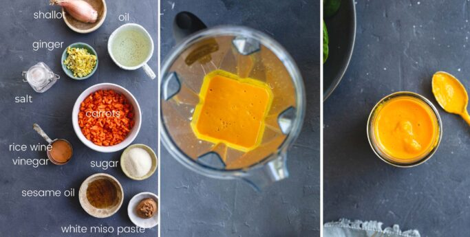 Three food images side by side showing how to make carrot dressing