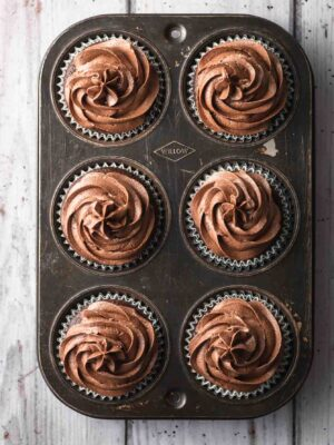 Overhead image of cupcakes with chocolate buttercream swirls