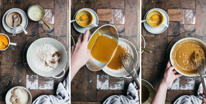 Three images showing the first 3 steps of making vegan pumpkin cupcakes