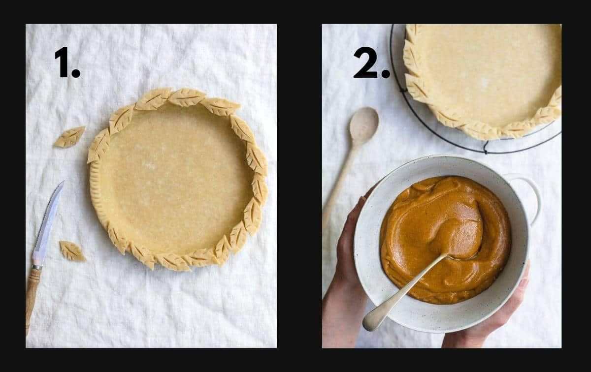 Two images, one lining the pie crust and the other adding the pie filling.