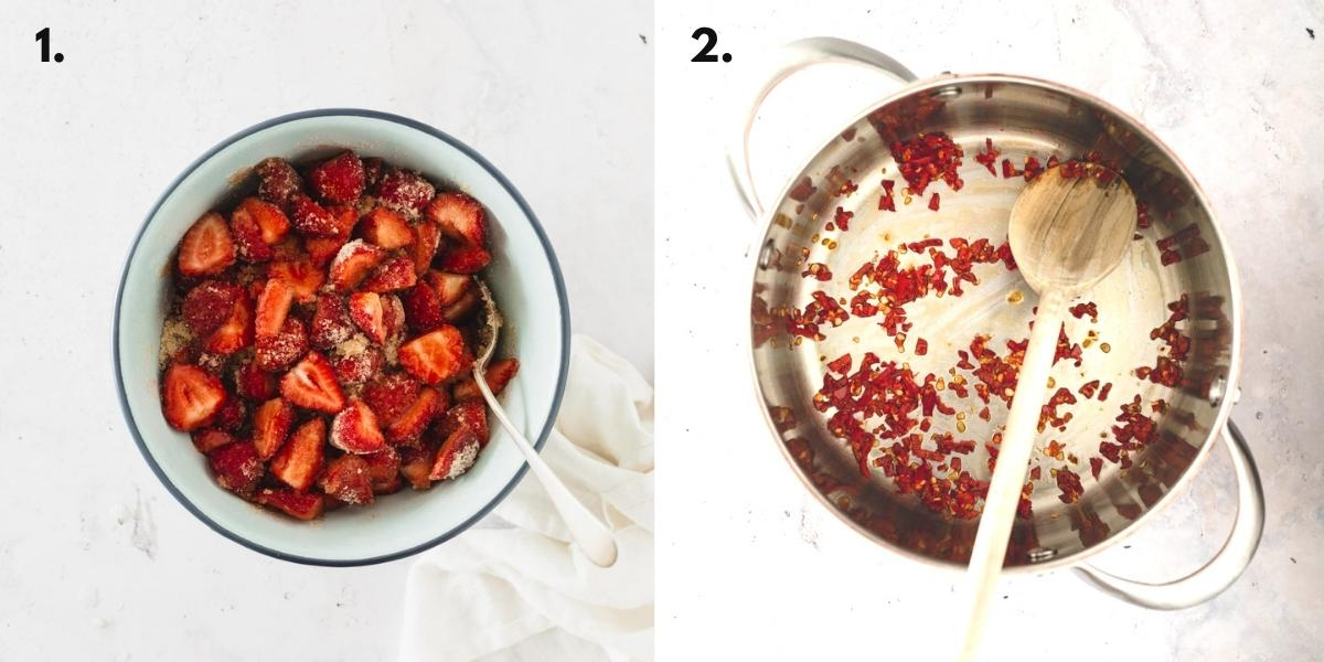 Two images of showing strawberry jam being made.