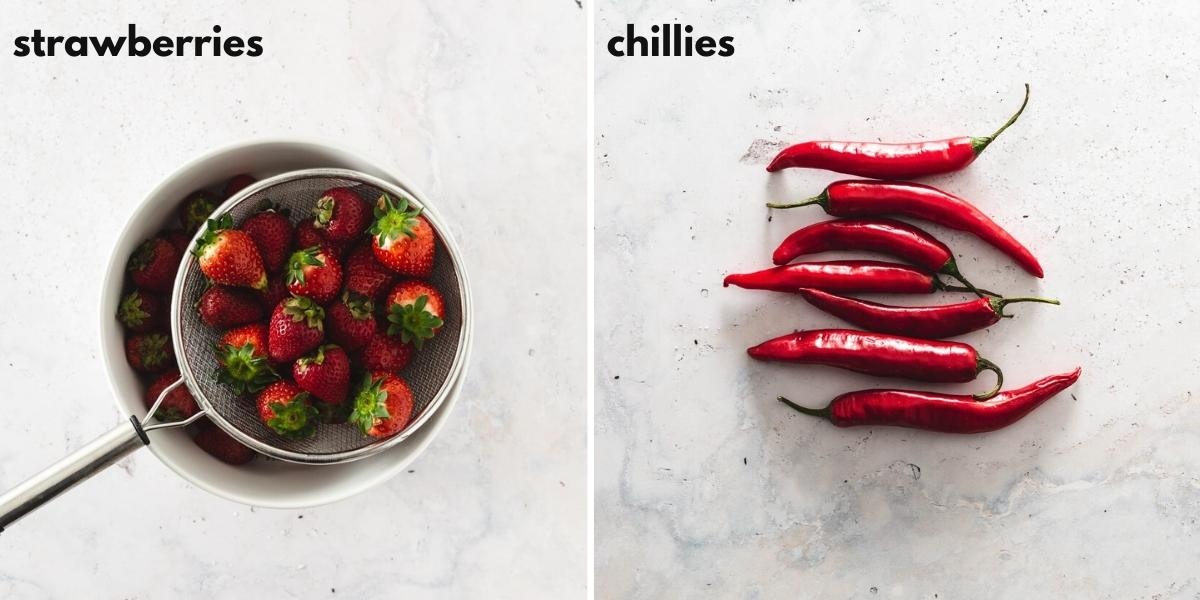 Side by side images of strawberries and chilli to make jam.