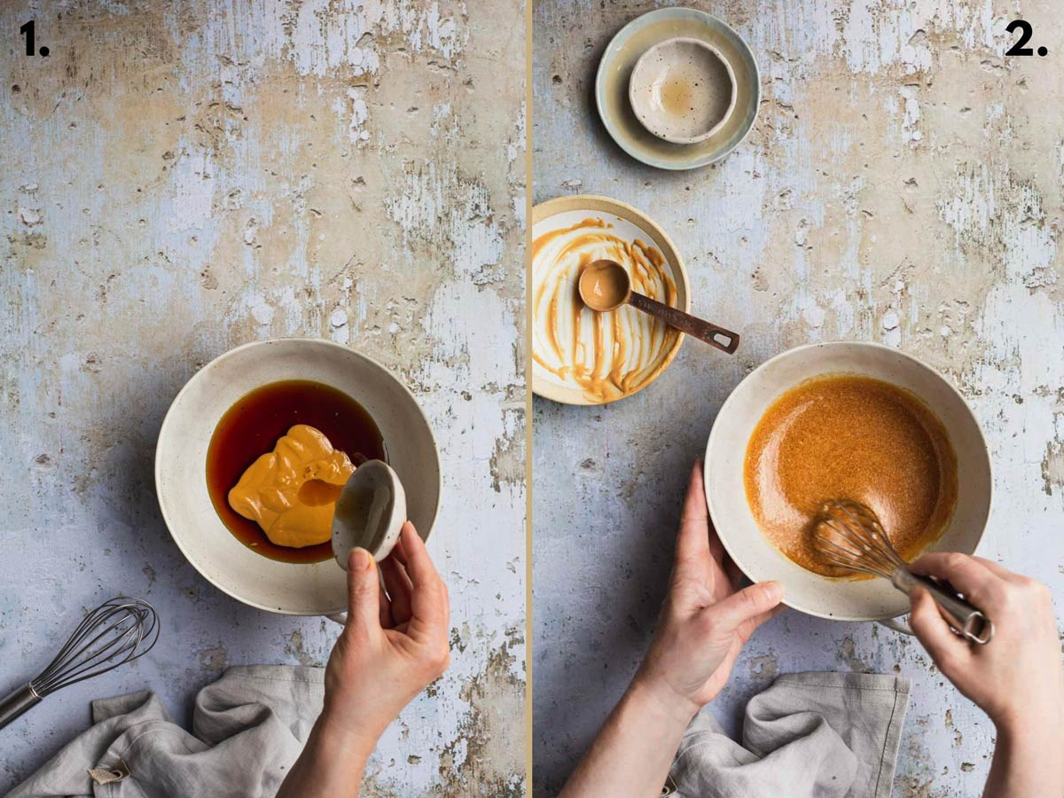 Two food images showing caramel sauce before and after whisking in a bowl.