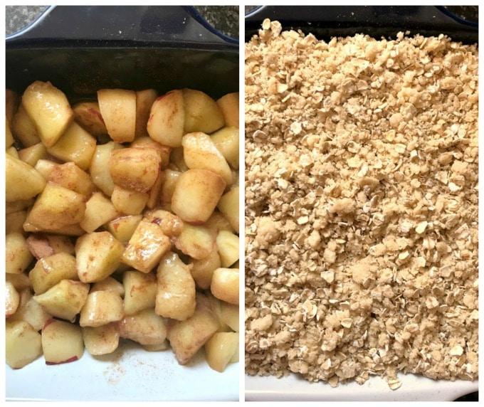 Collage of 2 photos to show how to make peach crisp