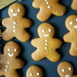 Overehead shot of 7 gingerbread man cookies decorated with icing