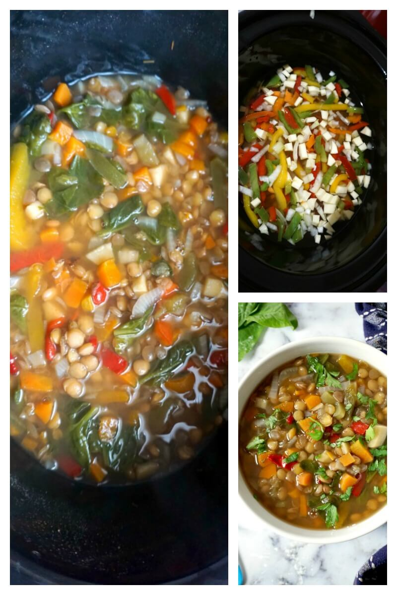 Collage of 3 photos to show how to make slow cooker lentil soup
