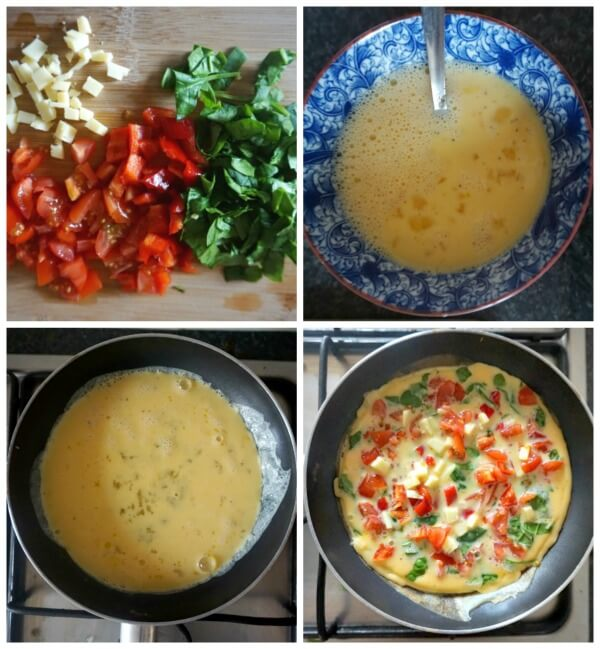 Collage of 4 photos to show how to make a vegetarian omelette