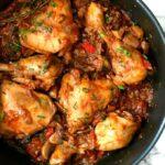 Overhead shot of a pan of chicken stew