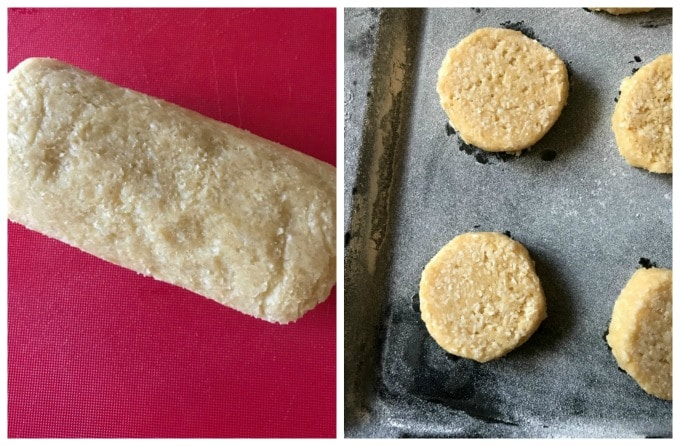 A collage of 2 photos to show how to make coconut shortbread cookies