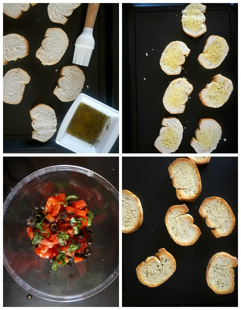 Collage of 4 photos showing how to make tomato bruschetta