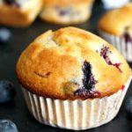 A blueberry muffin in a muffin paper case