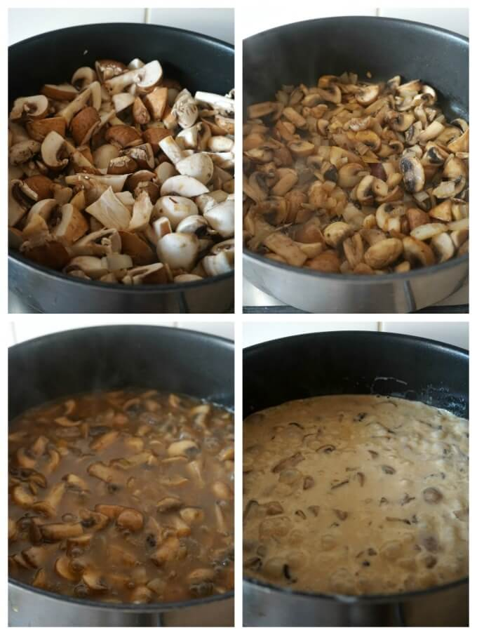 Collage of 4 photos to show how to make gluten free cream of mushroom soup