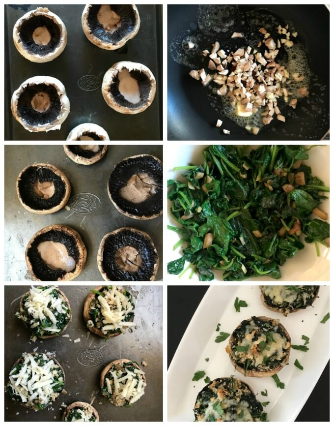 Collage of 6 photos to show how to make spinach-stuffed mushrooms