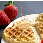 """French Toast Waffles, a romantic breakfast for brunch for Valentine's Day. Super easy to make, and ready in only 5 minutes, this little treat is a great way to say """"I love you""""."""