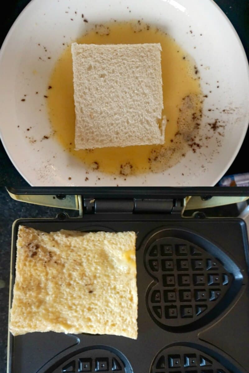 Collage of 2 photos to show how to make french toast waffles