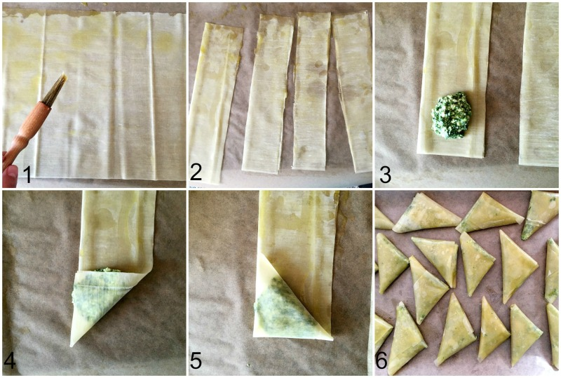 Collage with step-by-step instructions on how to make spanakopita triangles