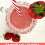A delicious and refreshing Strawberry Banana Smoothie with Coconut Milk, only 3 ingredients, and you are ready to face even the hottest summer. A child, vegetarian and vegan-friendly drink.