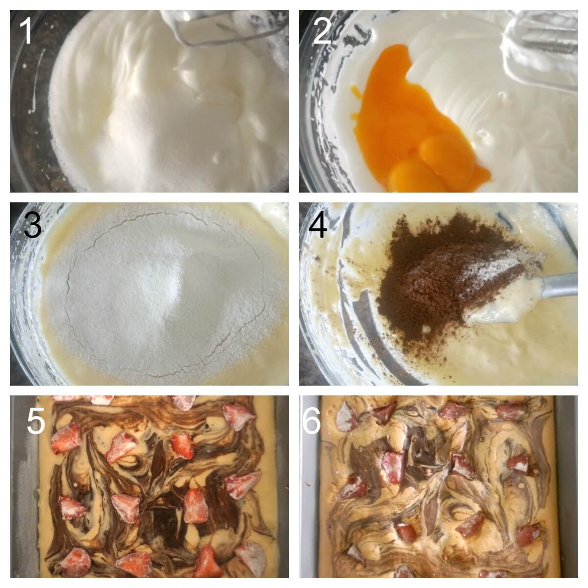Collage of 6 photos to show how to make strawberry chocolate sponge cakes