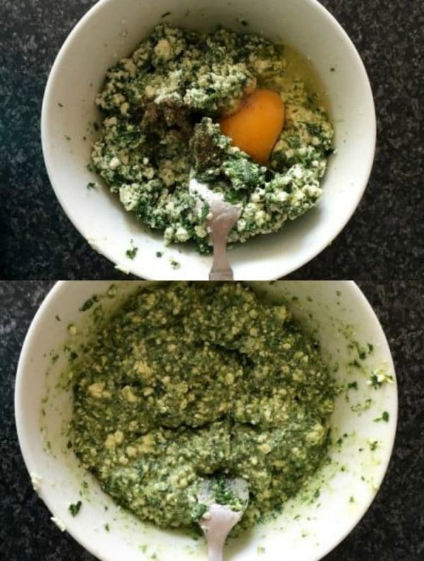 Collage of 2 photos to show how to make filling for spanakopita triangles
