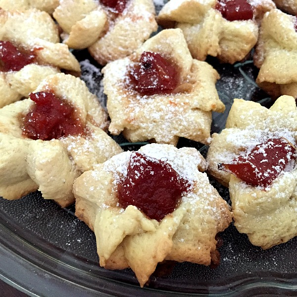 Close-up shoot of thumbprint cookies filled with jam