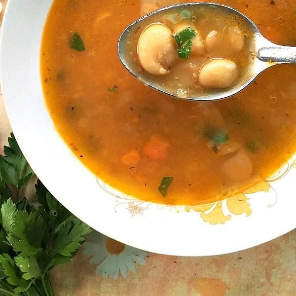Overhead shoot of a white bowl of vegan bean soup
