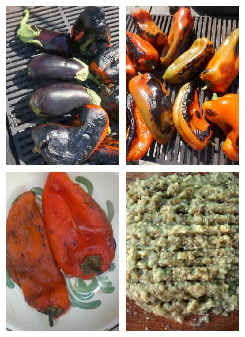 Collage of 4 photos to show how the roasted eggplant dip is made