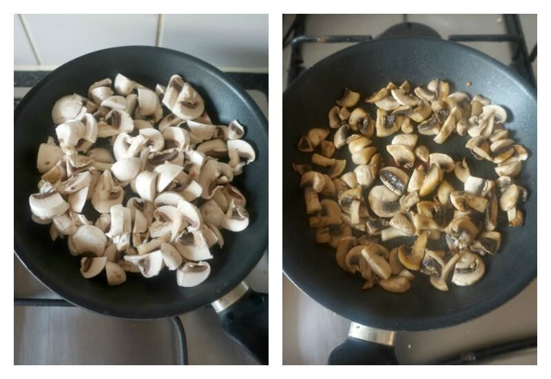 Collage of 2 photos to show how to cook mushrooms for pizza