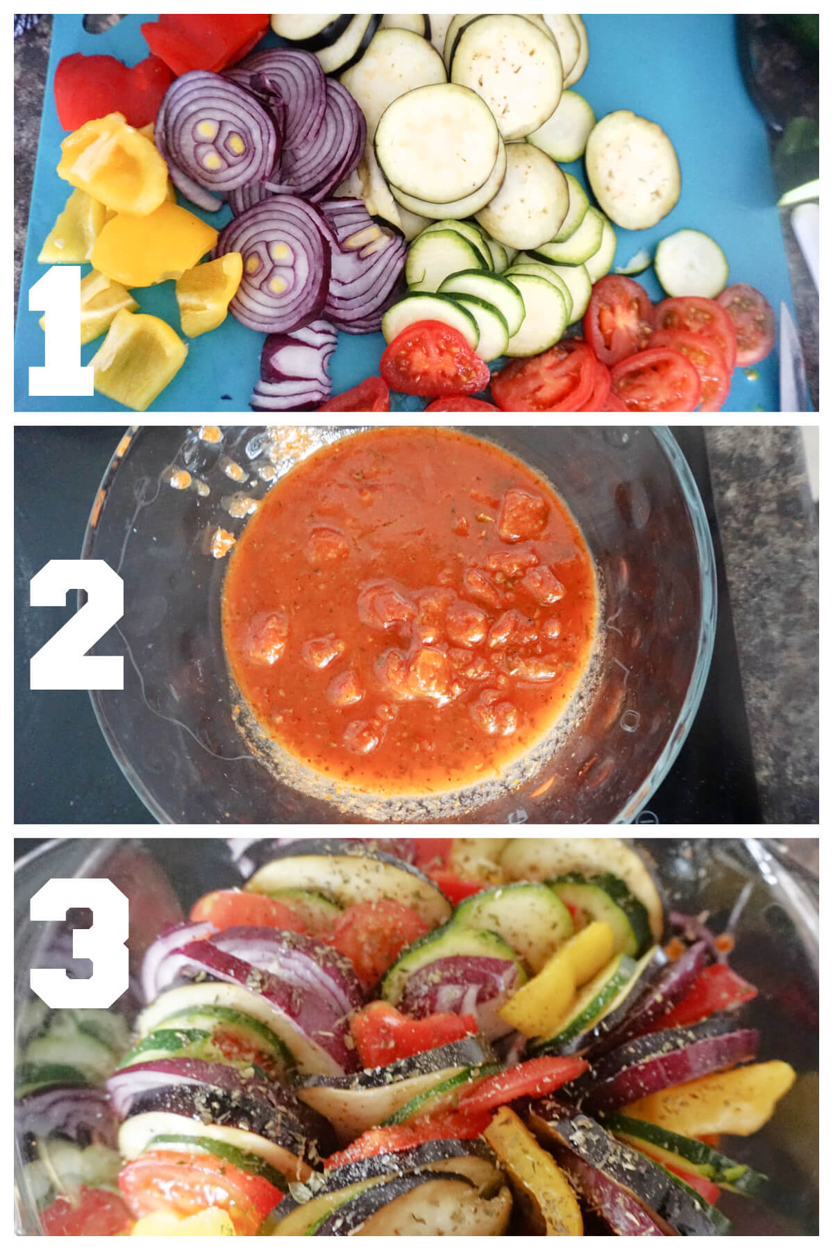 Collage of 3 photos to show how to make baked ratatouille