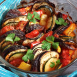 A glass dish with ratatouille