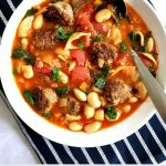 Minestrone soup with meatballs, cannellini beans, wholemeal pasta,carrots, plum tomatoes and spinach, a hearty soup to warm you up on those chilli days. This is what l call comfort food with minimum effort and basic ingredients.