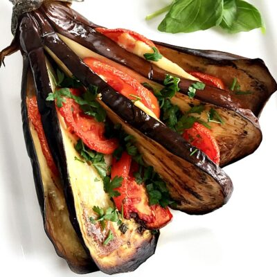 Roasted Eggplant Fan with Chicken, Cheese and Tomatoes