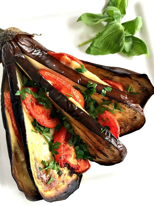 Roasted Eggplant Fan With Chicken Cheese And Tomatoes My Gorgeous Recipes