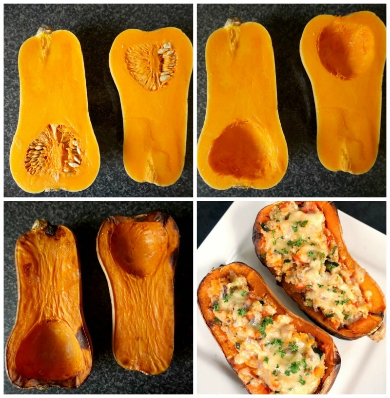 Collage photo which shows the butternut squash halved, in the first photo the squash has the seeds in, in the second photo the seeds have been removed, in the third photo the squash is roasted, and in the fourth one the squash is stuffed with the veggie couscous