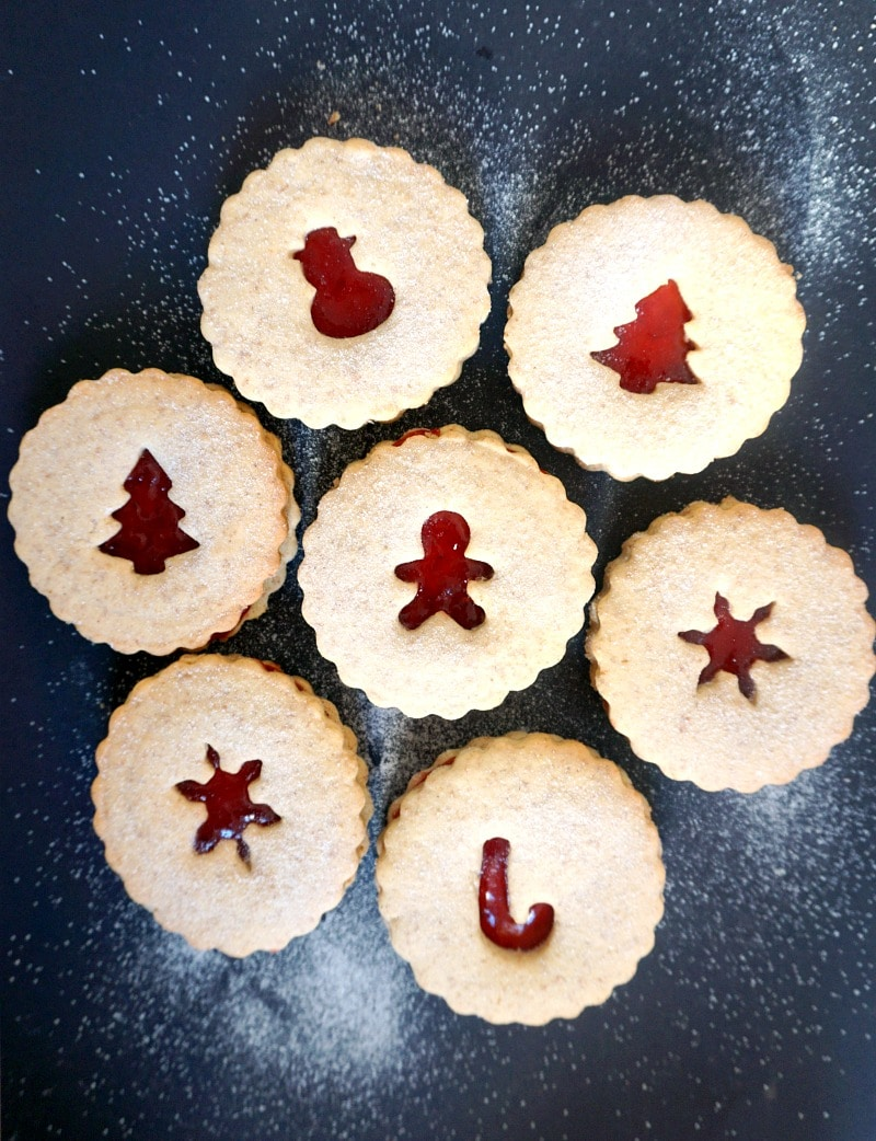 Overeheas shot of 7 linzer cookies