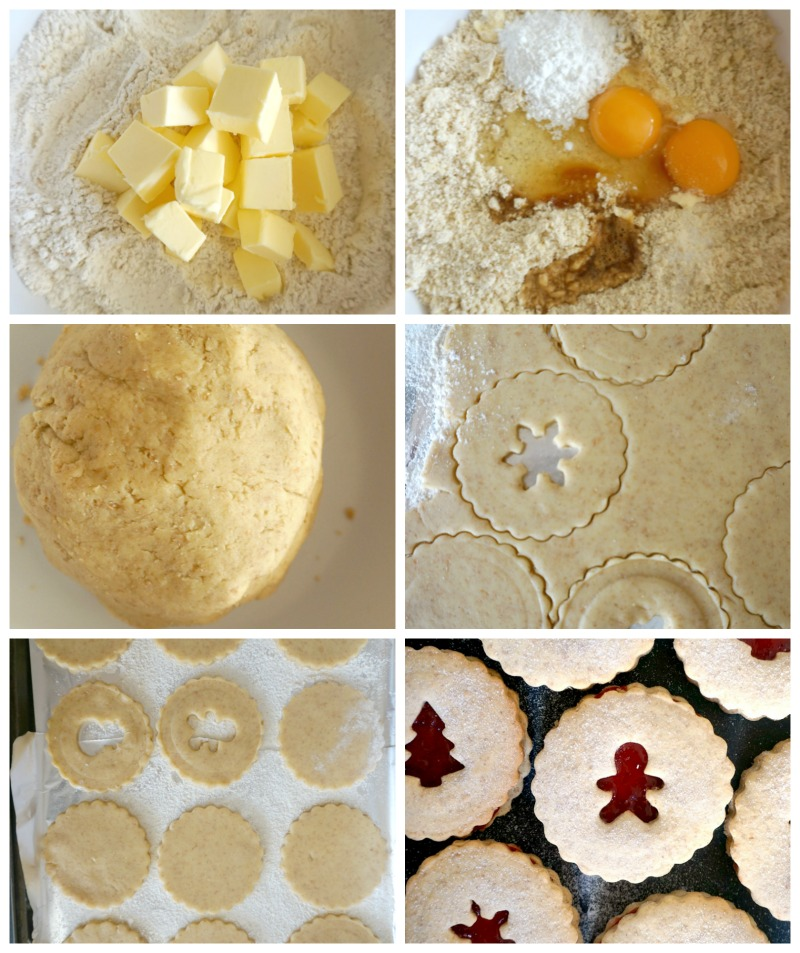 Collage of 6 photos to show how to make linzer cookies