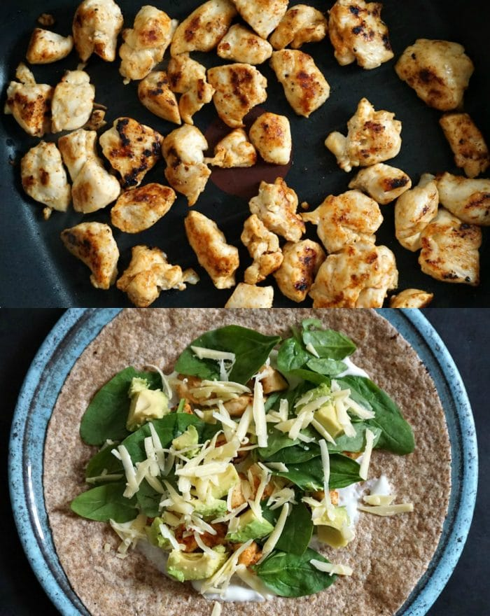 Grilled chicken avocado wrap, process shots on how to make the wrap. The first photo shows the chicken pieces on the grill, the second photo shows the tortilla wrap topped with spinach leaves, grated cheese, chicken and avocado pieces