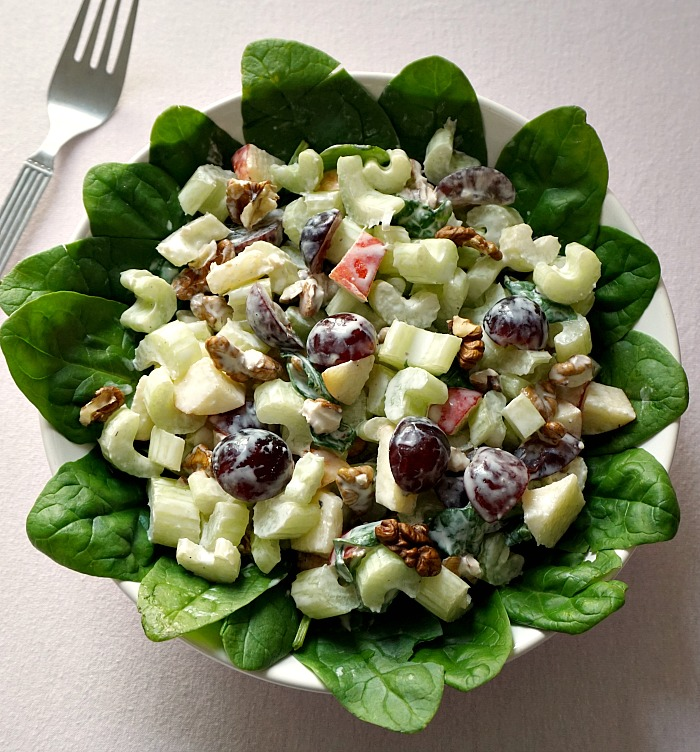 Overhead shoot of a bowl of waldorf salad