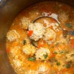 A pan of Romanian Meatball Soup