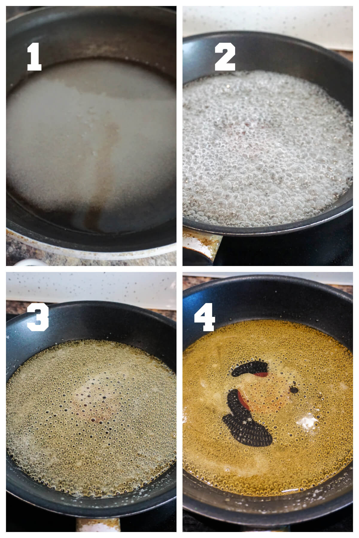 Collage of 4 photos to show how to make caramel for flan