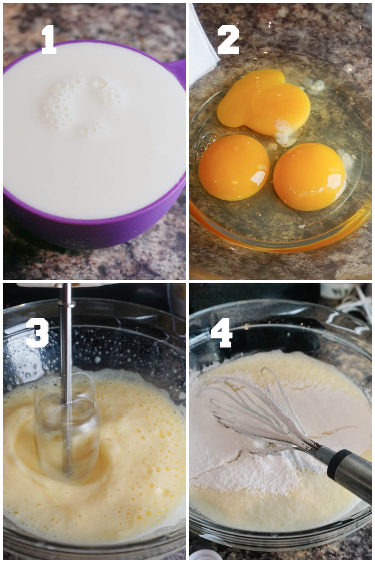 Collage of 4 photos to show how to make the custard for flan