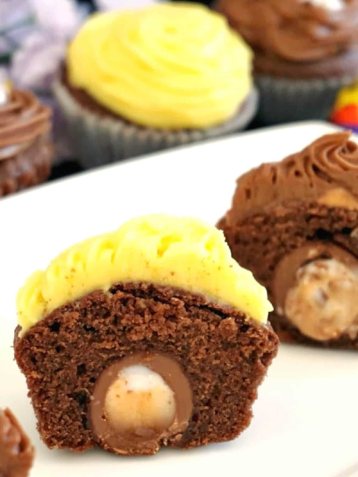 Half of a cupcake to show the hiddren creme egg inside
