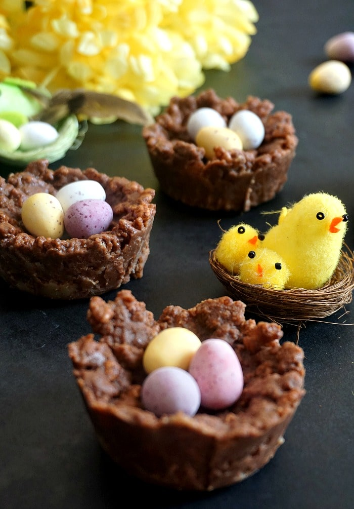 3 chocolate rice krispie easter nests