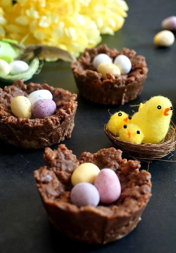 3 chocolate rice krispie easter nests