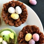 Chocolate Rice Krispie Easter Nests, the sweetest treat for kids. A fun way to use up chocolate eggs and keep the little ones entertained, these rice krispie treats are perfect for Easter. A delicious no-bake dessert that is fun to make and always goes down well with little and big ones. If you are looking for Easter desserts, you must try these Easter treats. #ricekrispietreats, #easterdesserts, #easternests, #easterrecipes
