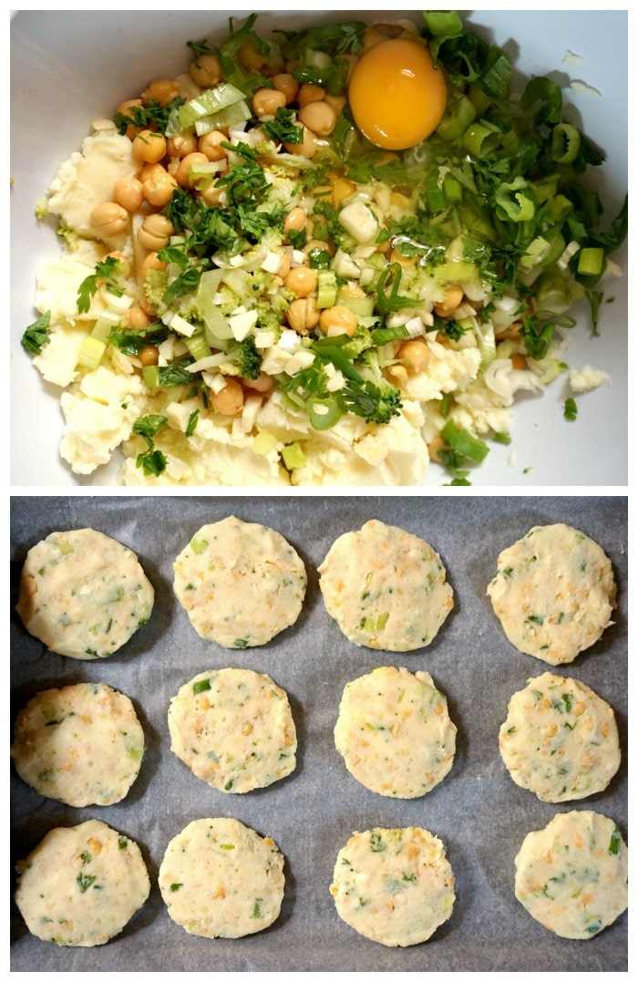 Collage of 2 photos to show how to make chickpea patties