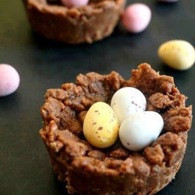 Chocolate Rice Krispie Easter Nests