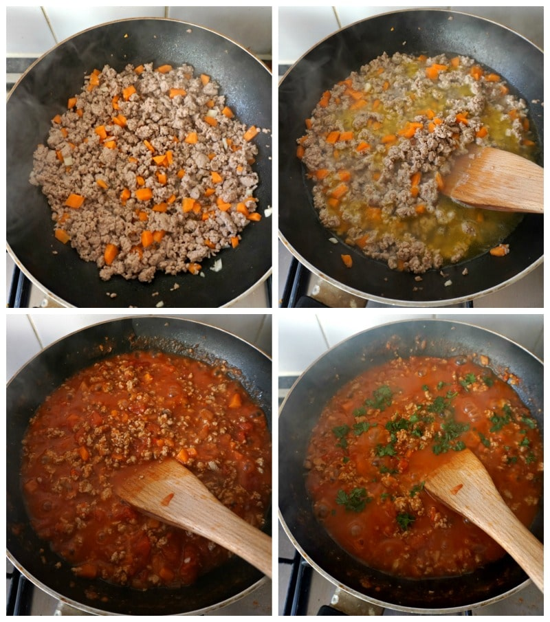 Collage of 4 photos to show how to make healthy turkey bolognese